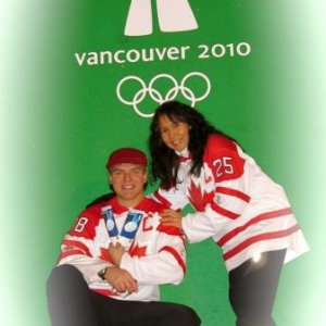 My Honey and I taking in the Victory Ceremonies at our Home City's 2010 Winter Olympics