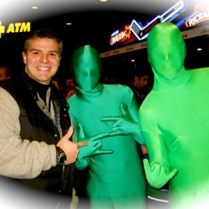 "Jay meets the Famous ""Green Men"" the secret weapon of the Vancouver Canucks LOL :)"