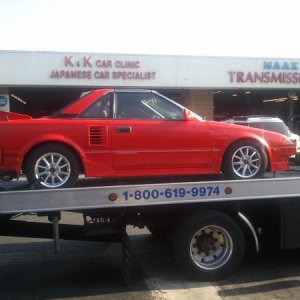 this is how you safely transport true sportscar in so cal mr2sc