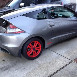 Dipped red rims with eibach sportline springs